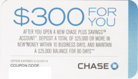 Chase Plus Savings $300 Coupon
