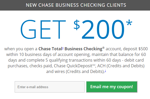 Chase Business Checking $200 Bonus