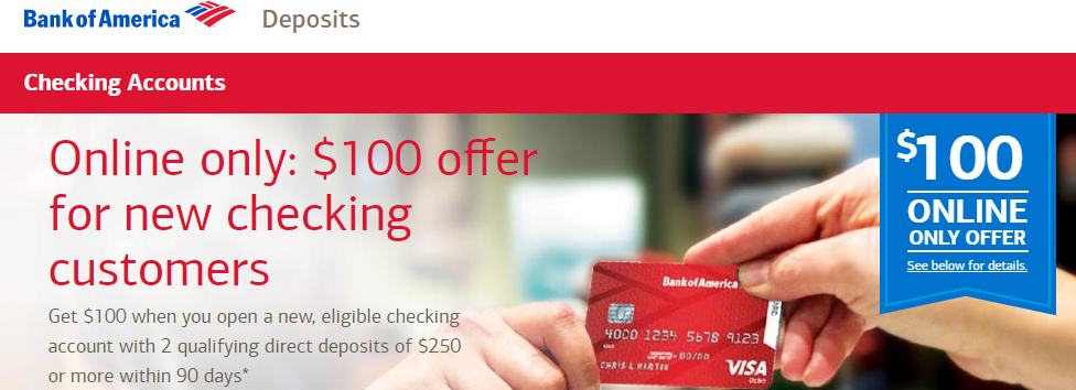 Bank of america promotions 100 150 200 250 300 bank of america 100 checking bonus ccuart Gallery