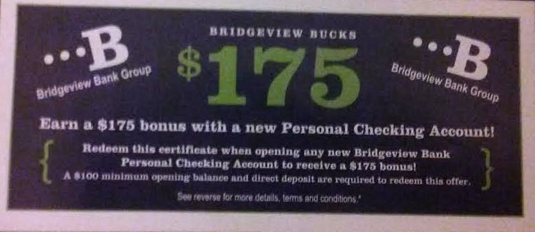 bridgeview bank $175 checking bonus